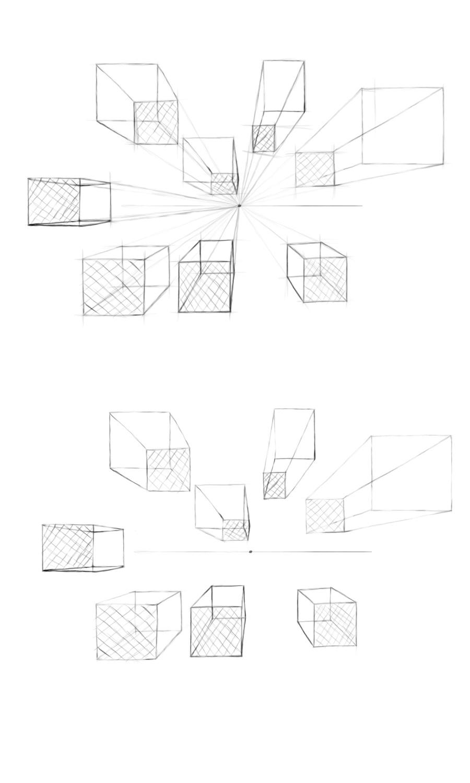 手绘作业练习---正方形透视