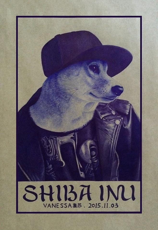圆珠笔画《柴犬》 有步骤图