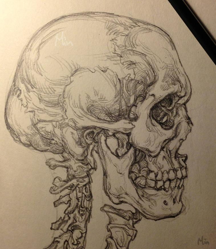 也是对基本功的巩固吧~ 铅笔画的速写素描图~虽然头盖骨给人的感觉很