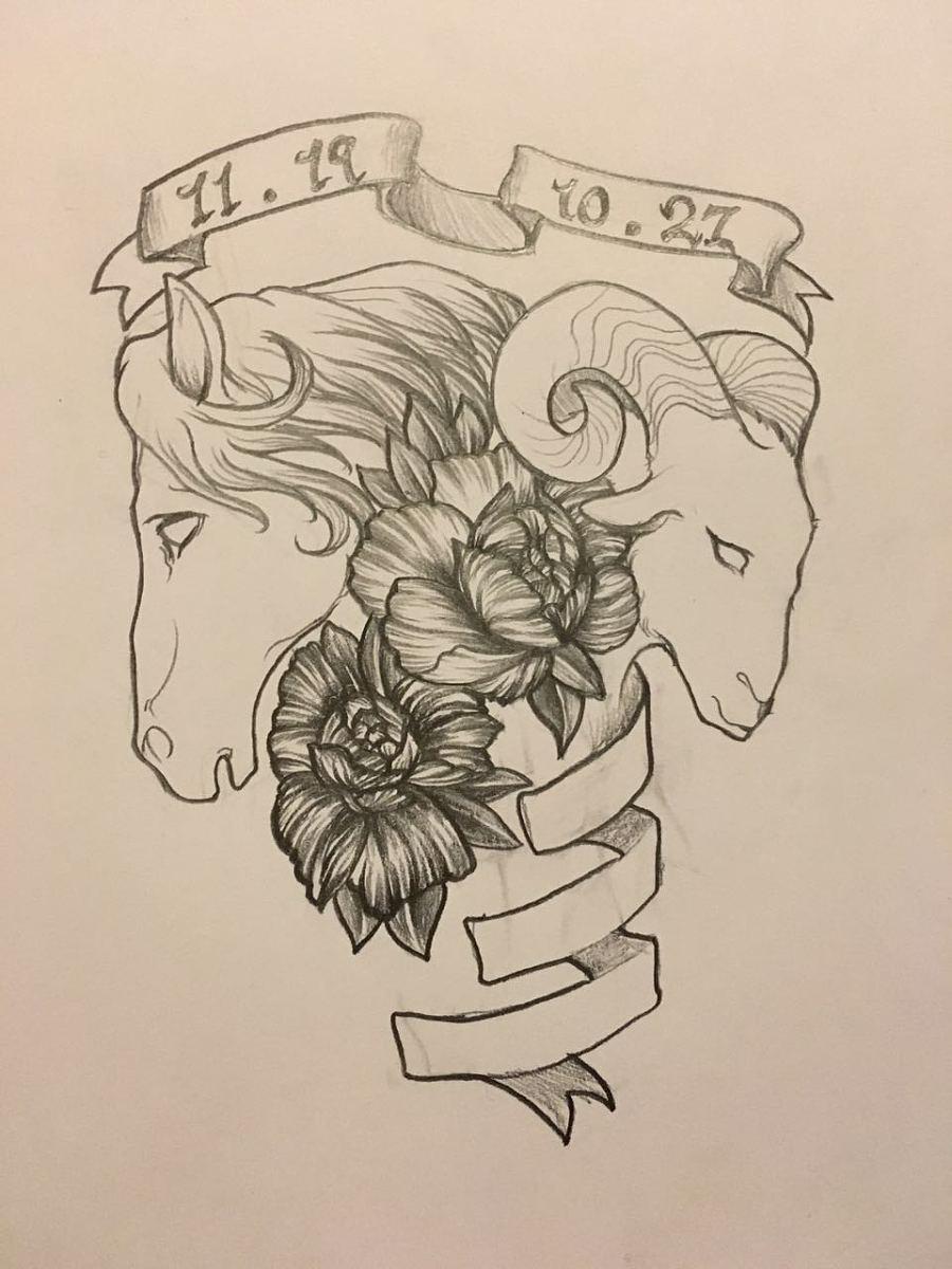 纹身设计手稿-马和羊