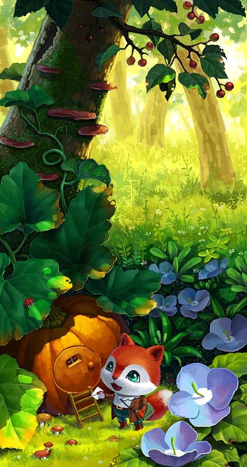 (娃他妈)手绘狐狸森林小屋插画|儿童插画|插画|娃他