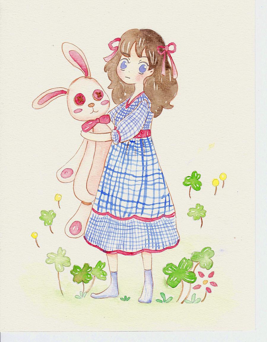 抱兔子的女孩 绘画习作 插画 车仔moon
