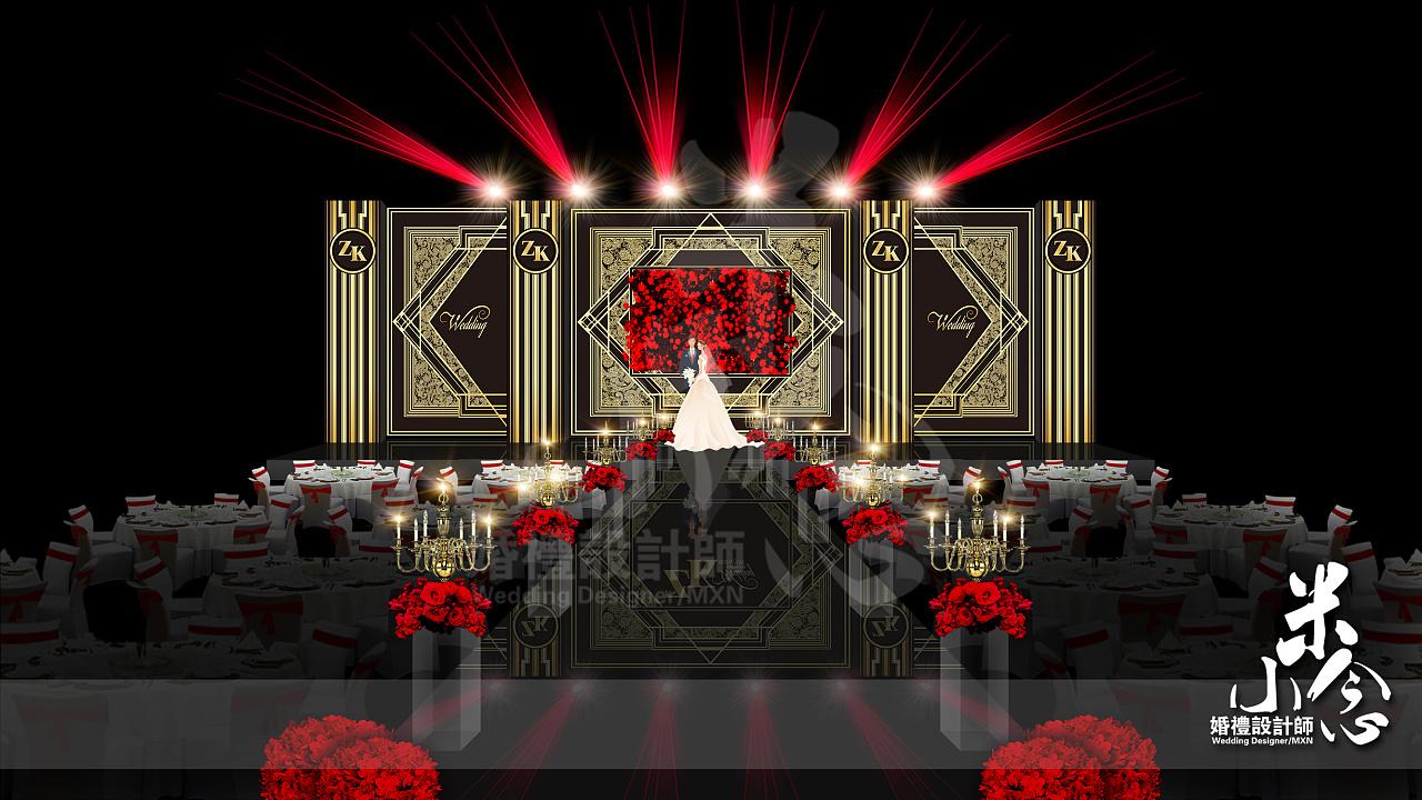 黑金色婚礼-psd效果图|空间|舞台美术|0米小念0