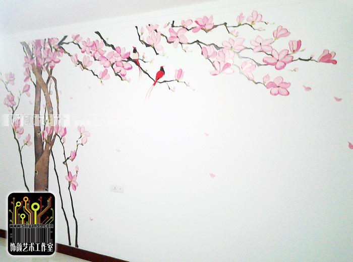 焦作手绘墙,焦作墙绘,玉兰飘香.