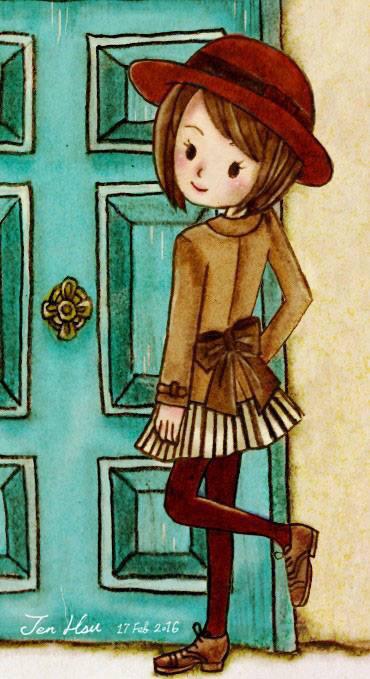戴帽子的商业女孩|插画插画|波浪|JenHsu29-原短发电大短发图片