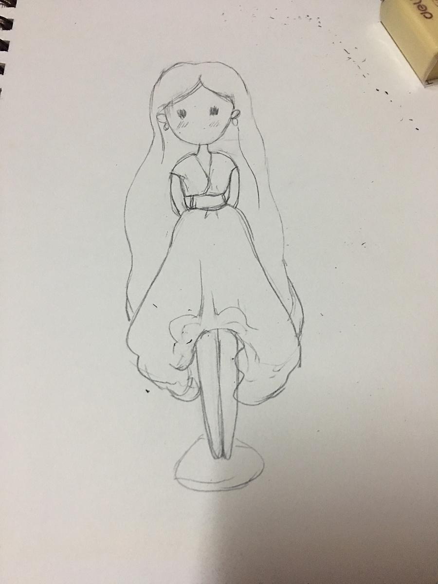 彩铅画 人物简笔(水粉画临摹成彩铅)|绘画习作|插画