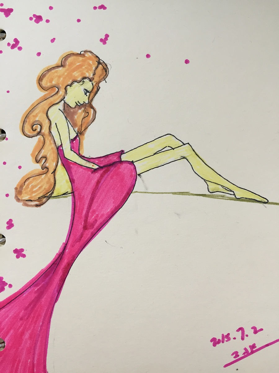 原创作品:手绘水彩女生