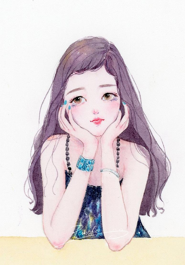 【小熊猫】水彩手绘人物水彩插画教程人物卡通头像手绘水彩步骤