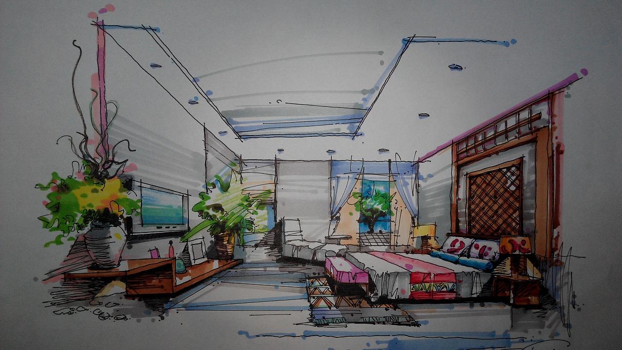 室内设计手绘效果图-室内设计简单的手绘图-室内设计效果图手绘教程