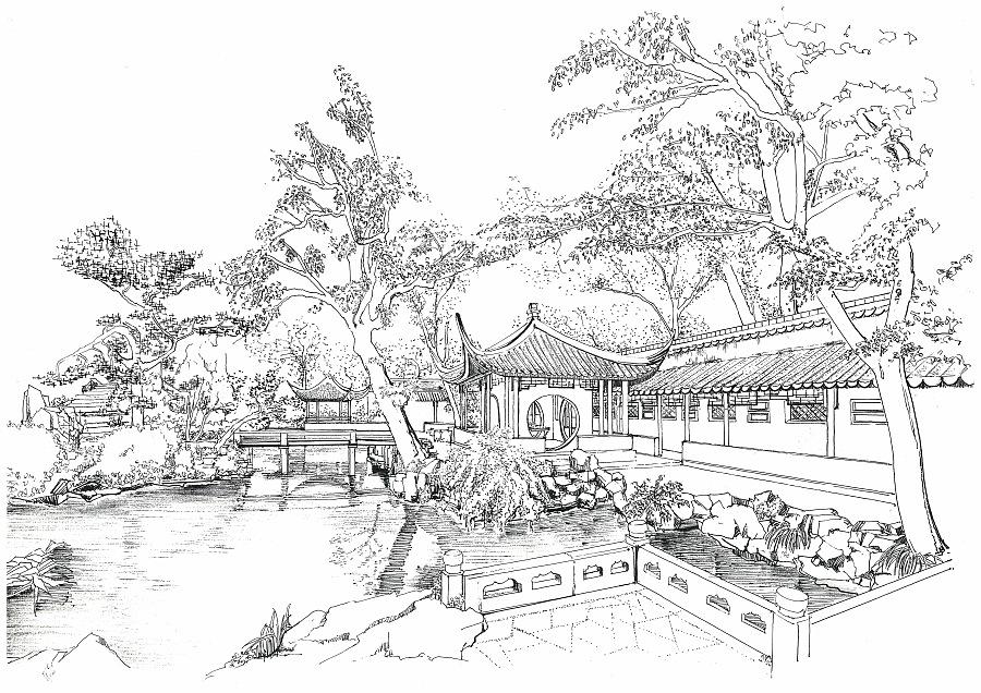 钢笔手绘-颐和园-古建庭院