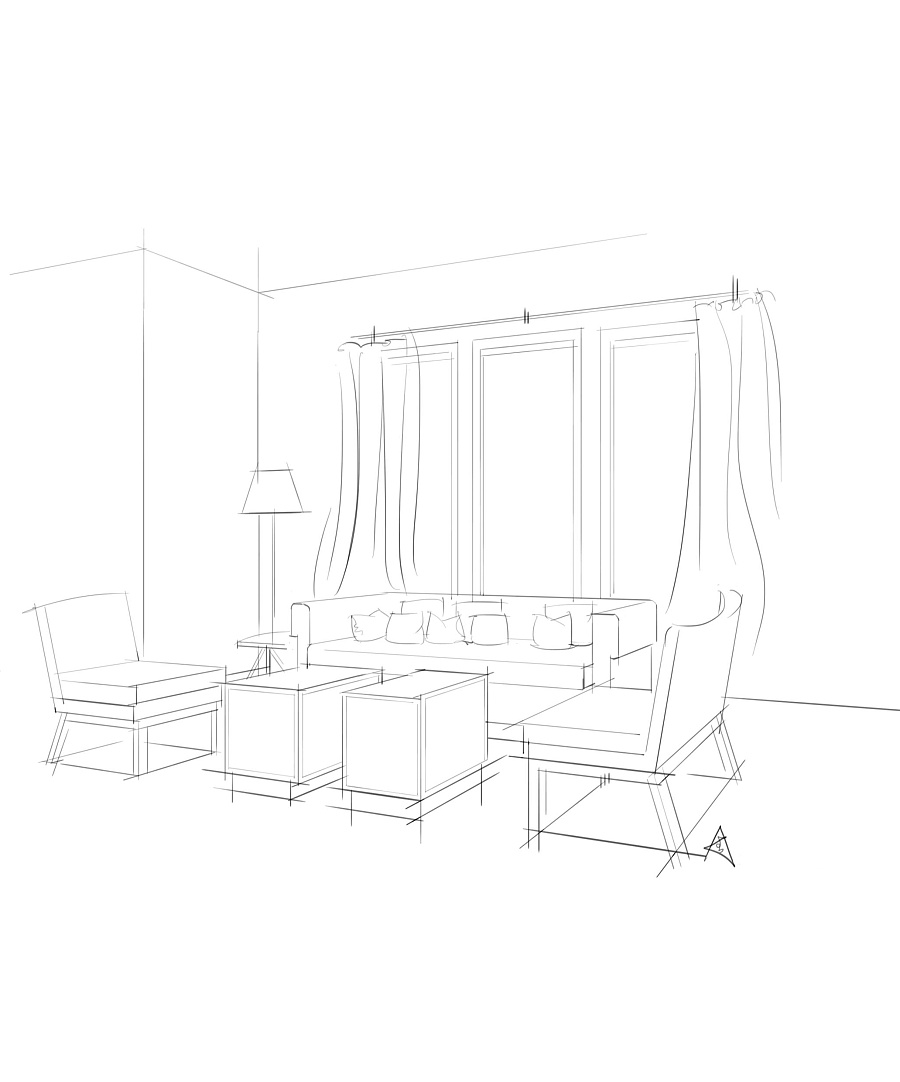 沙发组合(电脑手绘效果图)