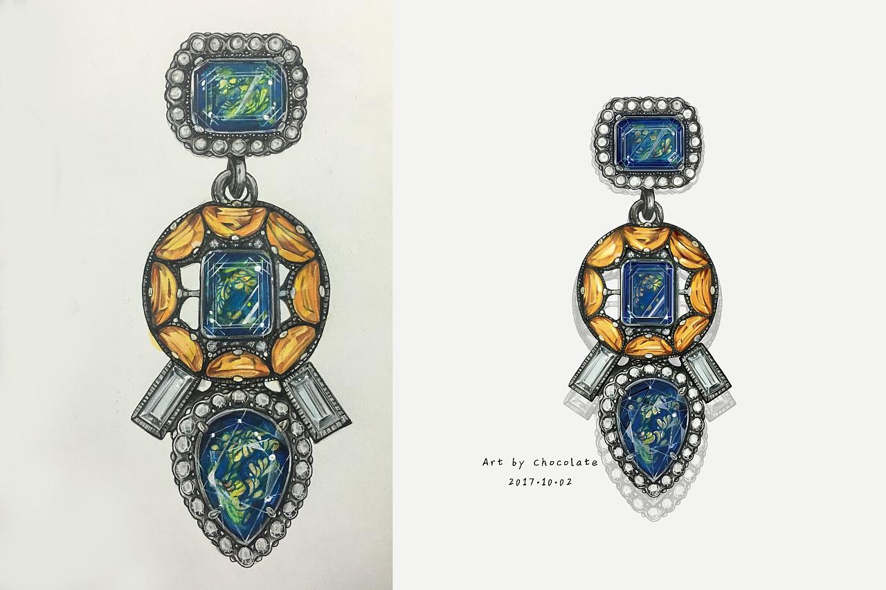 【珠宝首饰手绘 电脑后期步骤图】|插画|插画习作|唐