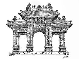 古建筑手绘