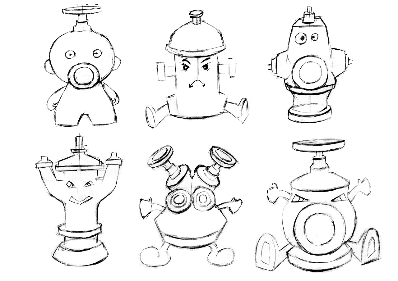 消防栓平台玩具手稿