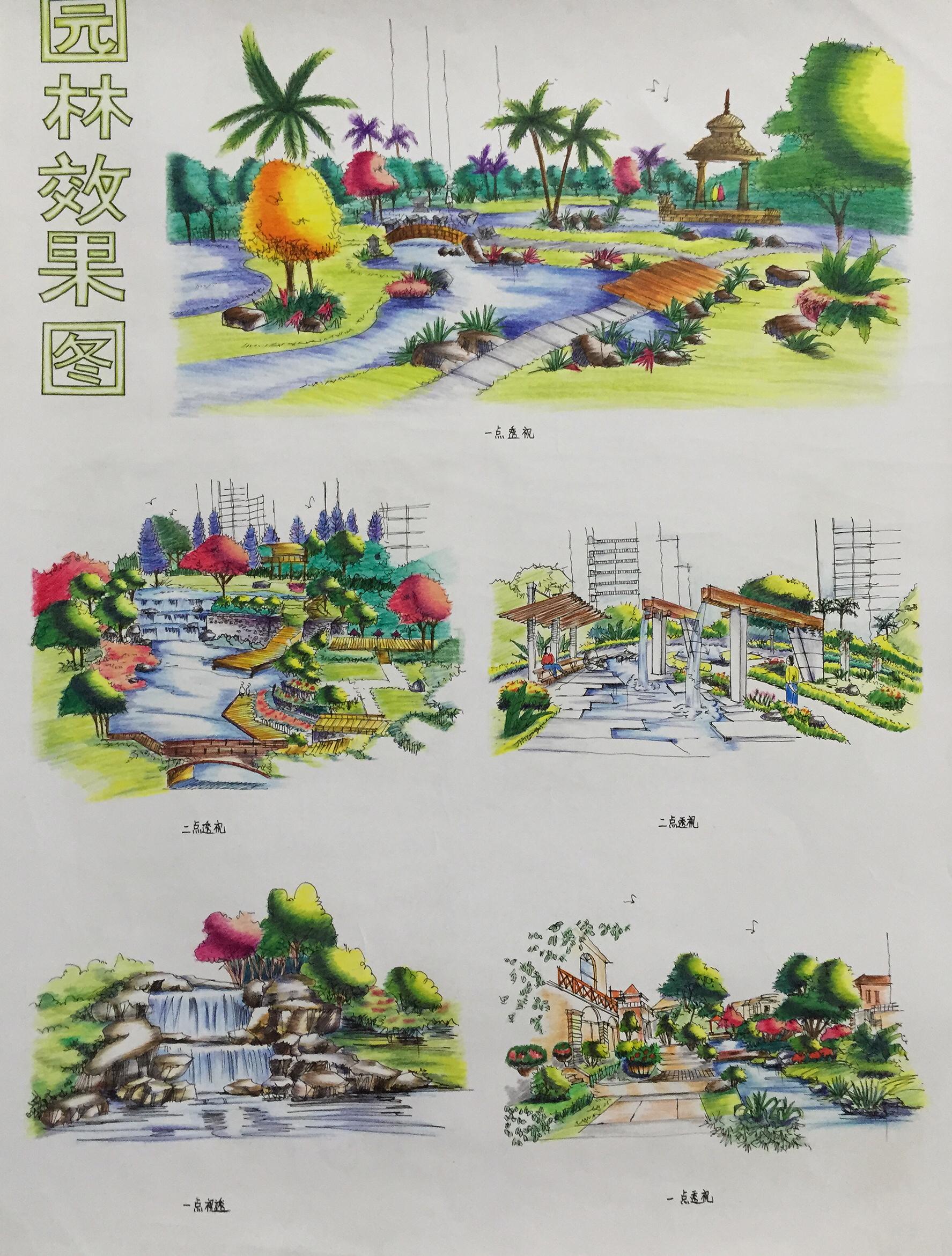 园林景观手绘效果图|纯艺术|彩铅|x可乐先生 - 原创