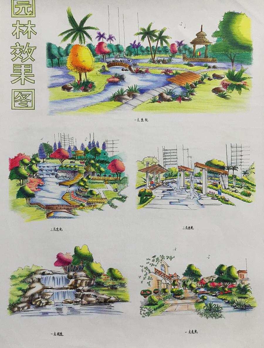园林景观手绘效果图|彩铅|纯艺术|iiiicherry - 原创
