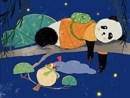 小熊猫儿童插画