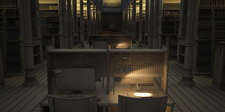 图书馆特写元素|场景|三维|huafengcg - 原创设计作品图片
