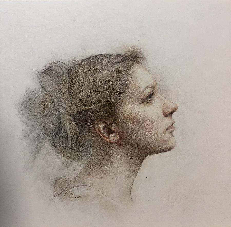 彩铅人物-侧脸女人像