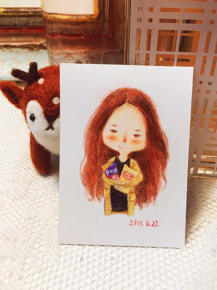 手绘彩铅小人物系列插画26 商业插画 插画 丁小婧