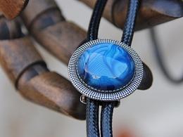 原创设计天然蓝色玛瑙石男女精致衬衣波洛领带bolo tie