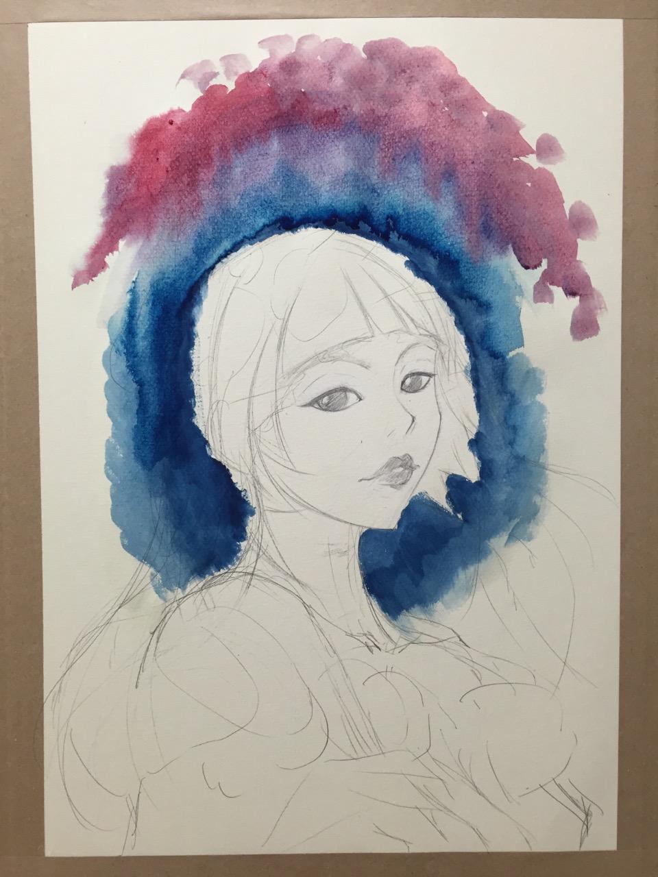 水粉画《多肉与女孩》