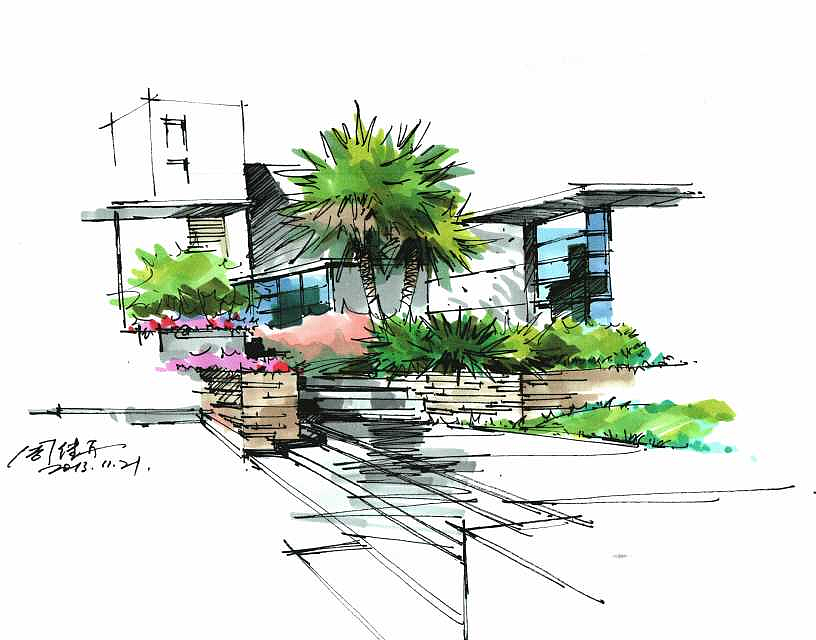 建筑画,手绘图片,手绘效果图,马克笔上色,建筑设计,室内设计,风景园林