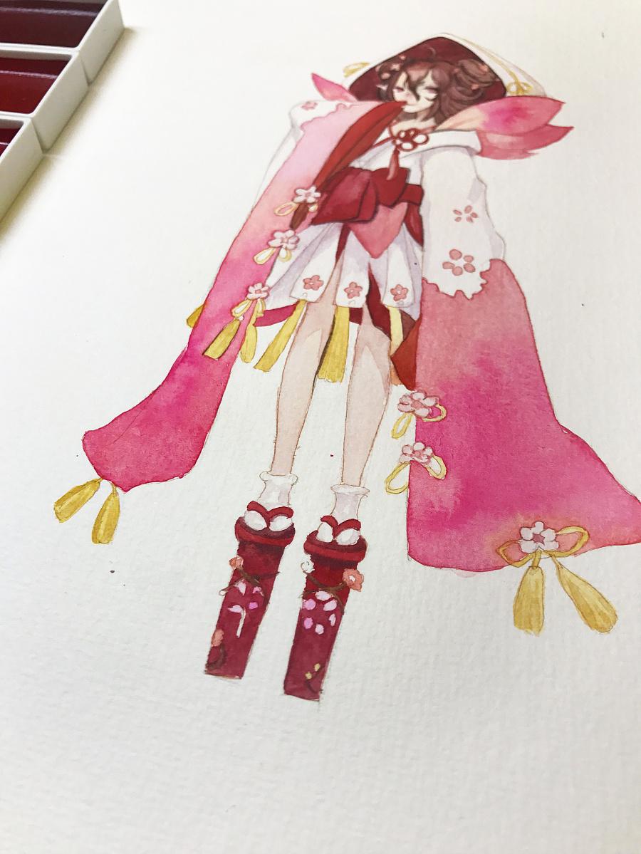 水彩手绘--桃花妖 水彩 纯艺术 蒲之未落