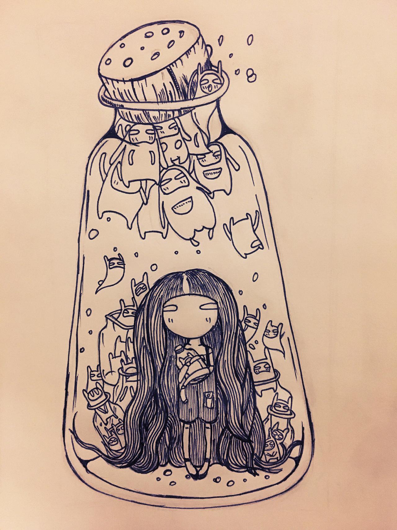 瓶子里的小女孩