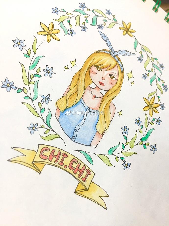 辉柏嘉彩铅手绘花朵和女孩过程图