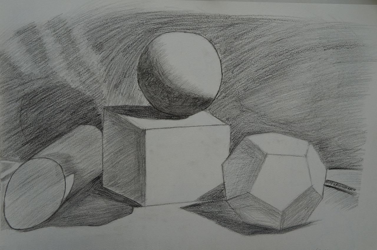 石膏体组合的画法-自学素描记录