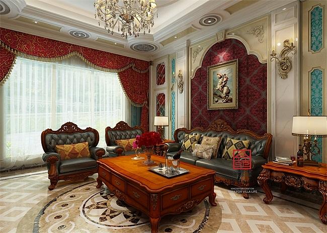 餐边柜,酒柜等,客厅地面及主卧地面也运用到了法式常有拼花地板及人字图片