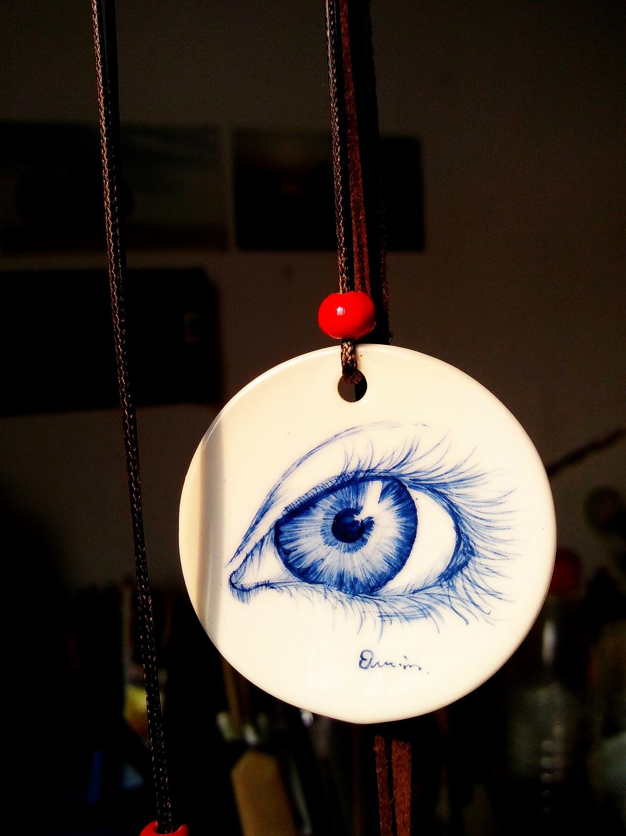 原创手绘陶瓷吊坠系