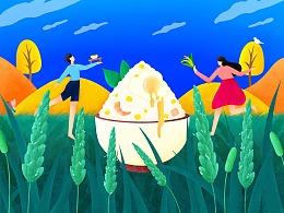 稻花香-大米包装插画