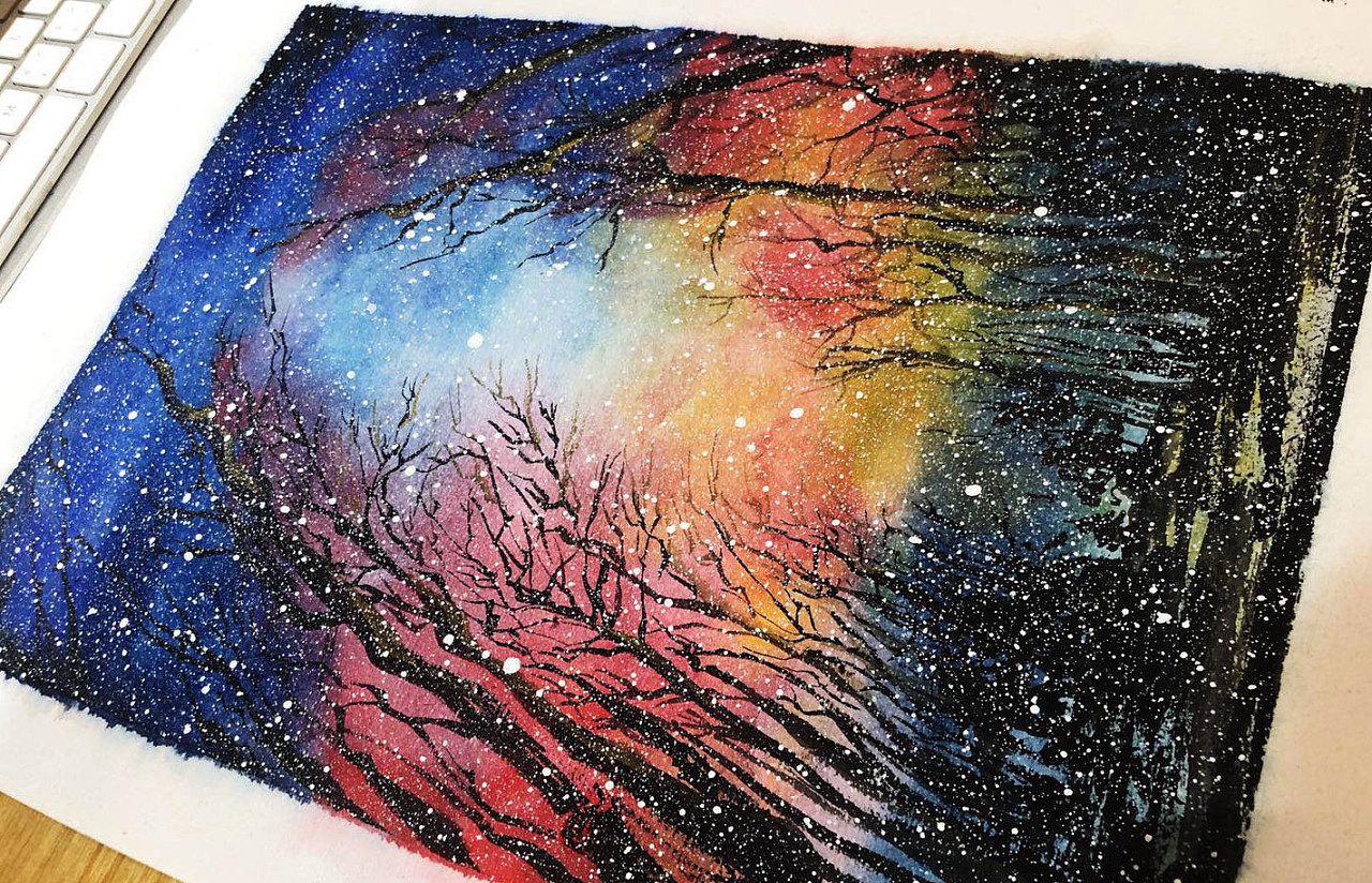 唯美彩铅画星空图片