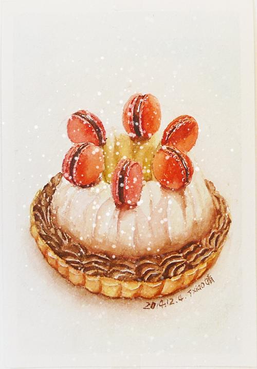 手绘水彩美食插画16|绘画习作|插画|丁小婧