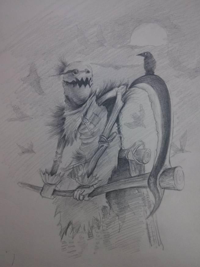 手绘游戏人物-稻草人|动漫|单幅漫画|杨小贱 - 原创