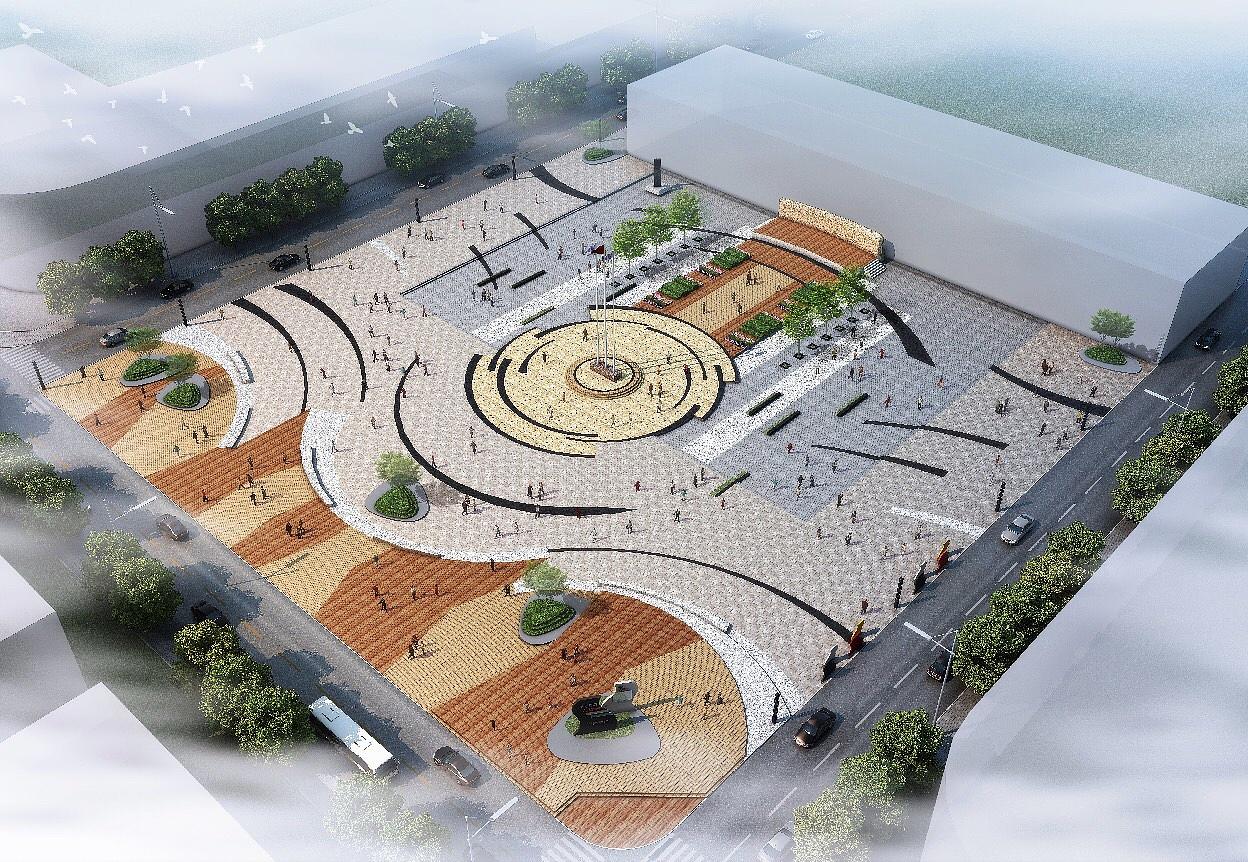 设计思路来自藏式窗,哈达飘带,有方有圆,点线面结合,中心下沉式广场.图片