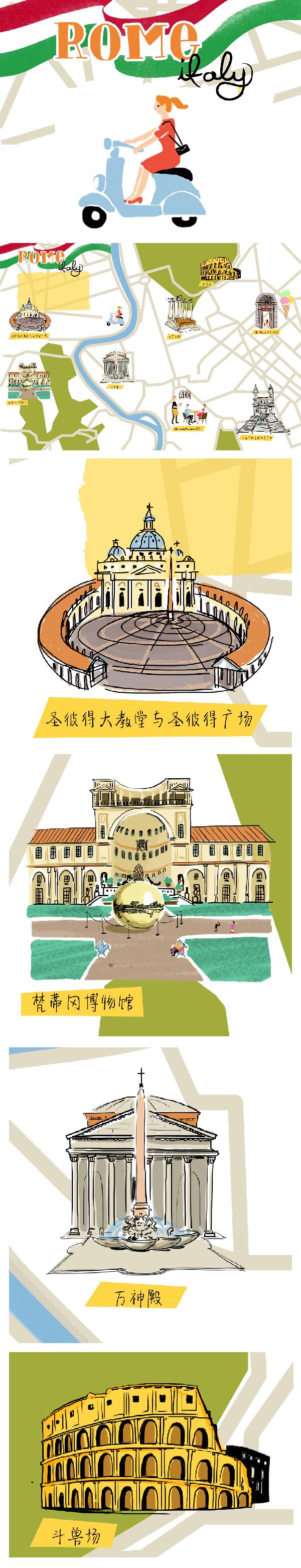 意大利 罗马 手绘地图