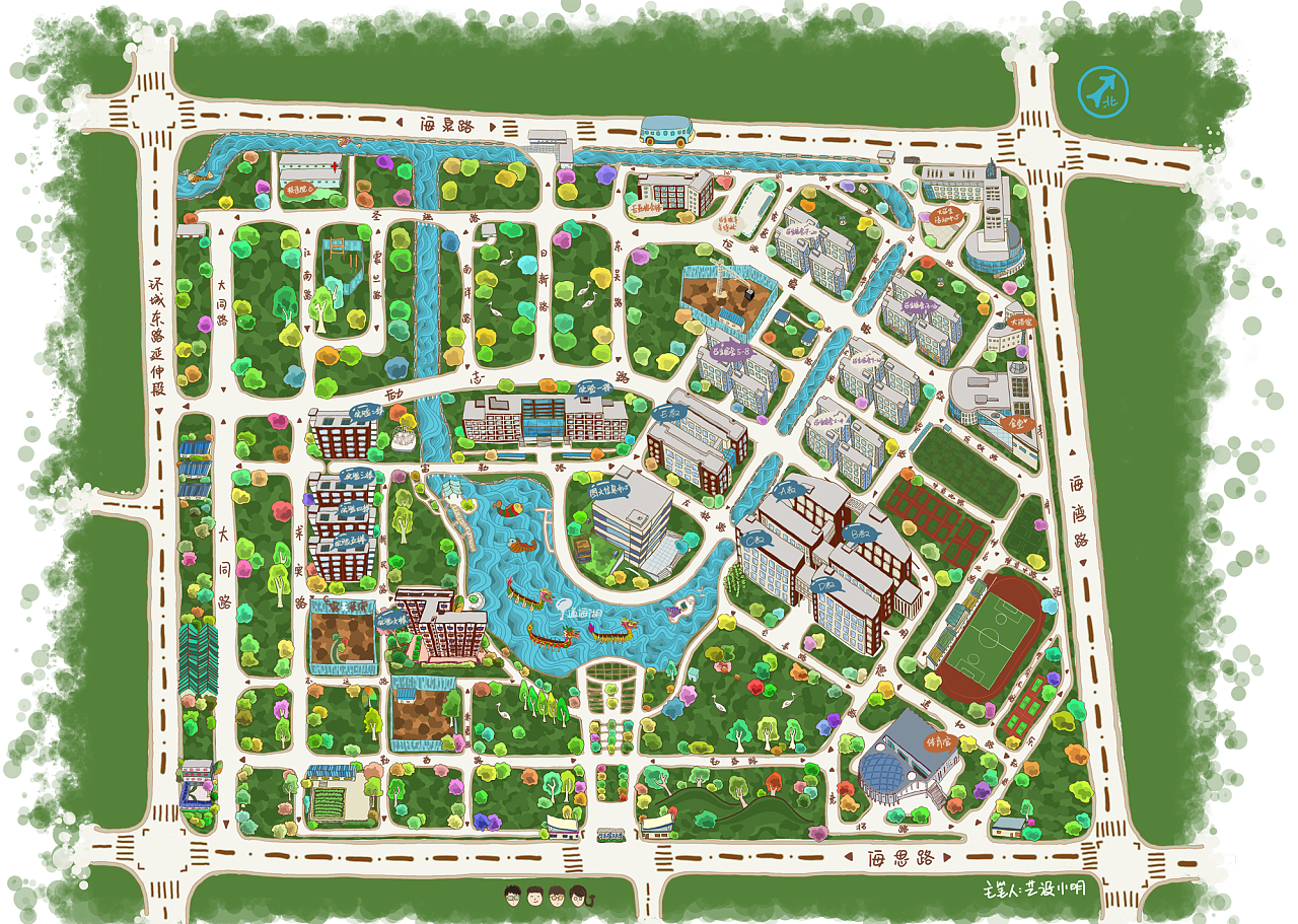 华东理工大学奉贤校区手绘地图