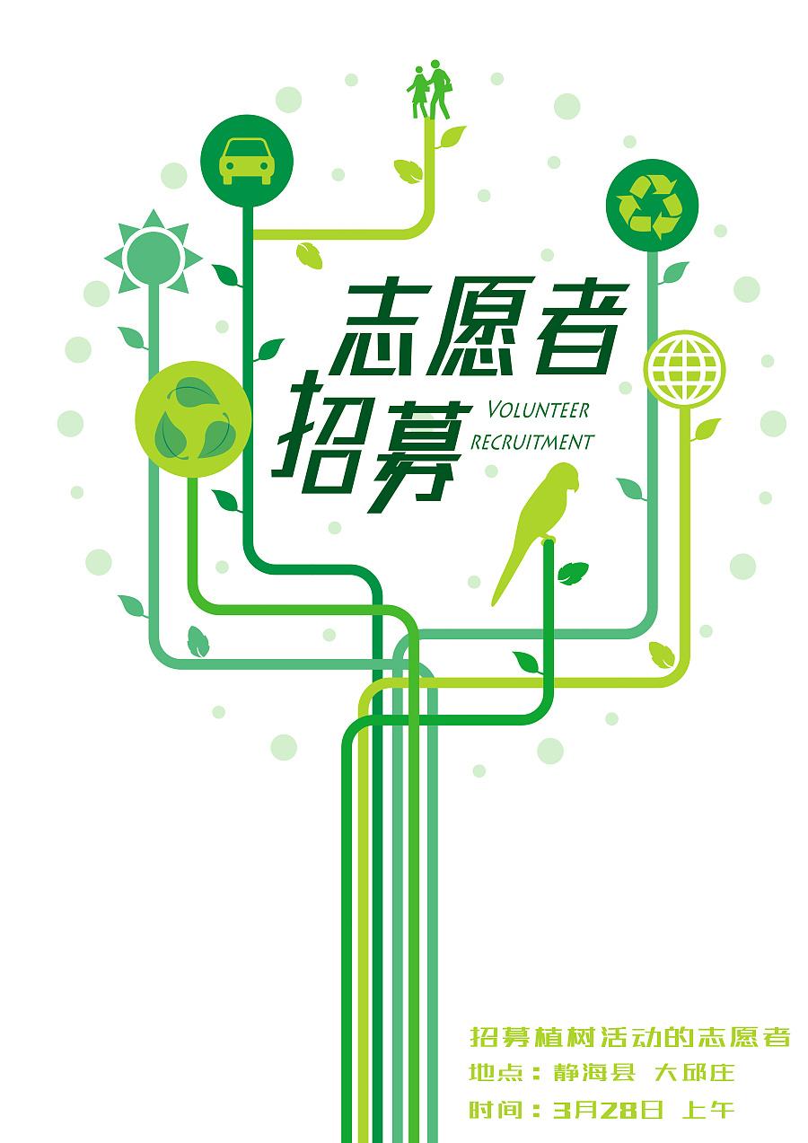 植树活动志愿者招募海报
