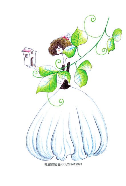孔雀绿 彩色铅笔 小画儿