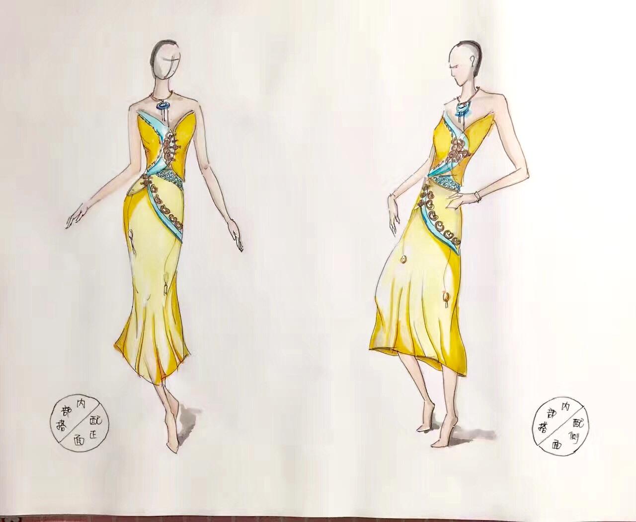 手绘传统服装