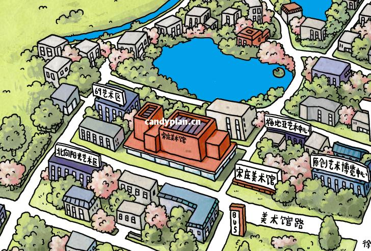原创作品:q版手绘地图.最新宋庄.手绘地图.中国.宋庄艺术区