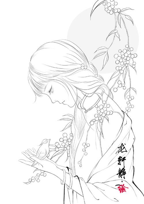 唯美古风美人白描线稿