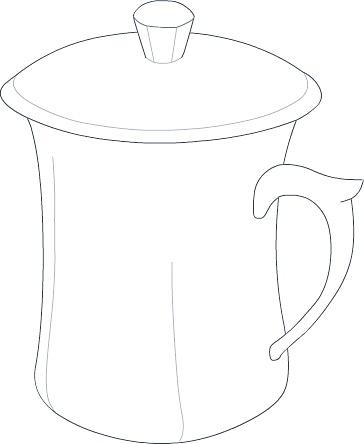 茶杯手绘三视图