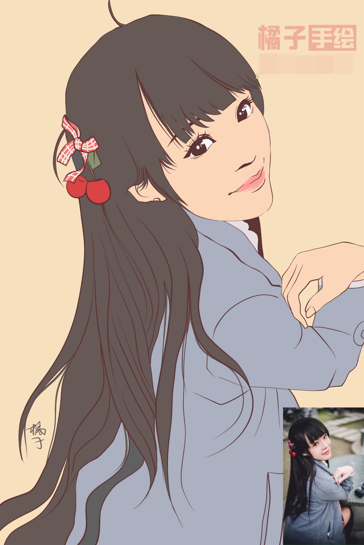 【原创作品】真人手绘单色插画