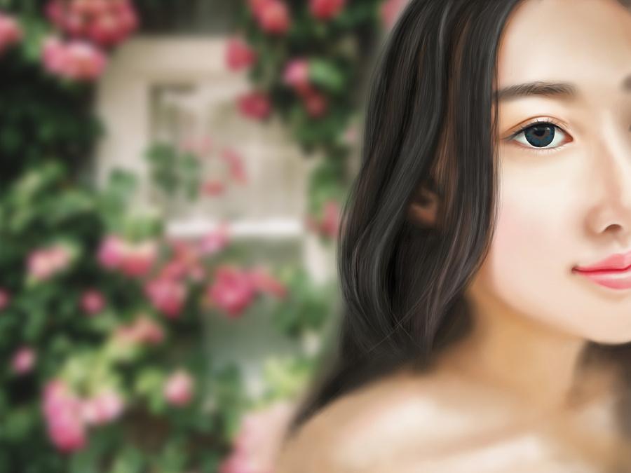 小清新美女画像 插画 手绘