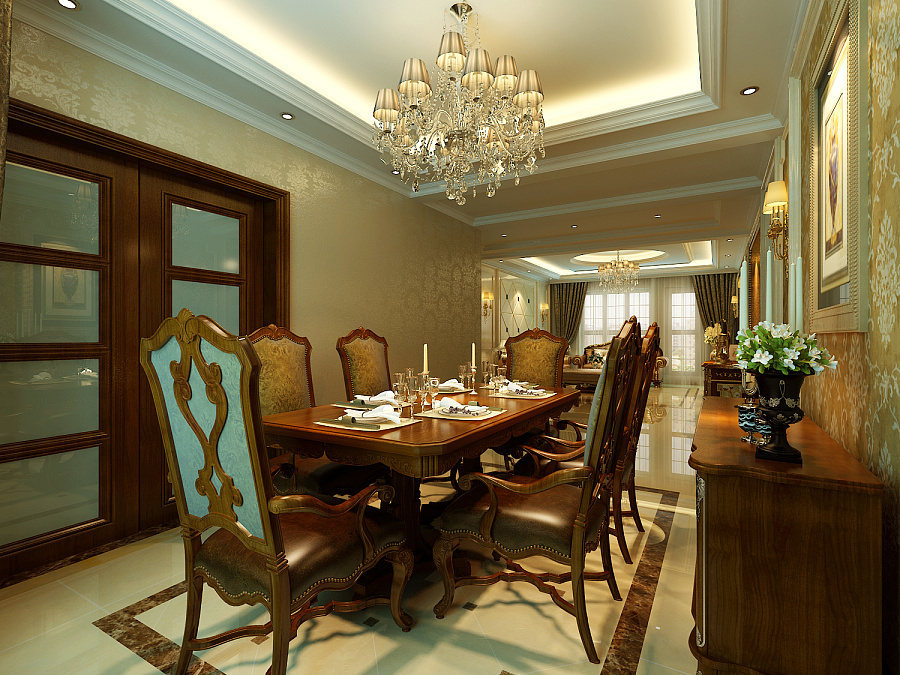 本案的设计风格为欧式,营造典雅、自然、高贵的气质、浪漫的情调是本案的主题。 古典欧式风格兼备豪华、优雅、和谐、舒适、浪漫的特点,受到了越来越多业主的喜爱。 但是纯正的古典欧式风格适用于大户型与大空间,强调线形流动的变化,将室内雕刻工艺 集中在装饰和陈设艺术上,色彩华丽且用暖色调加以协调,变形的直线与曲线相互作用以 及猫脚家具与装饰工艺手段的运用,构成室内华美厚重的气氛。它在形式上以浪漫主义为 基础,常用大理石、地面拼花,华丽多彩的织物、多姿曲线的家具,让室内显示出豪华、 富丽的特点,充满强烈的动感效果。