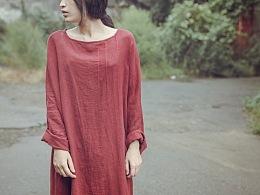 【向日葵记忆】复古女士春秋棉麻宽松长袖套头连衣裙 女式棉麻长袍